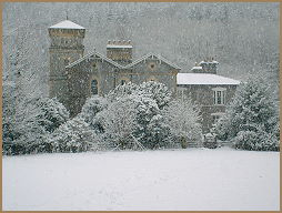 the hall nr betws-y-coed in snowdonia in the snow